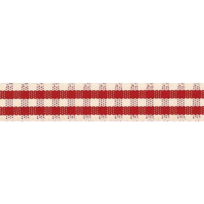 15mm Rustic Gingham Red Ribbon 4m Reel