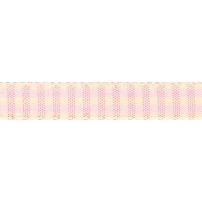 15mm Rustic Gingham Pink Ribbon 4m Reel
