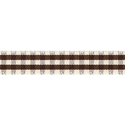15mm Rustic Gingham Brown Ribbon 4m Reel