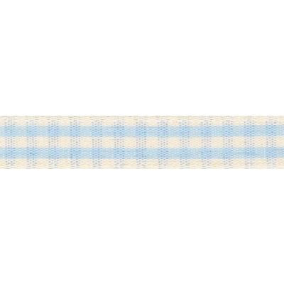 7mm Rustic Gingham Sky Ribbon 5m Reel