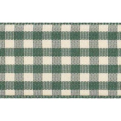 15mm Natural Gingham Green Ribbon 4m Reel