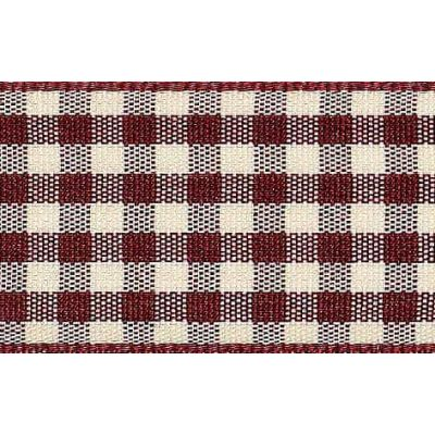 15mm Natural Gingham Burgundy Ribbon 4m Reel