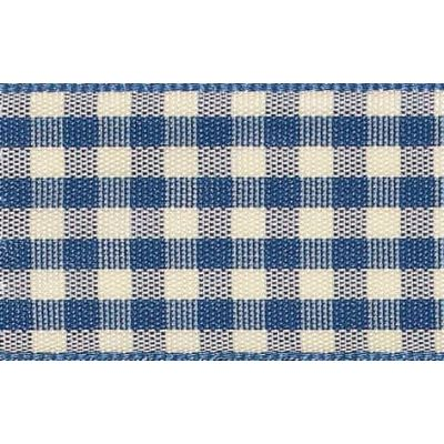 Berisfords 15mm Natural Gingham Blue Ribbon 4m Reel