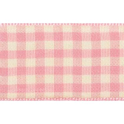 10mm Natural Gingham Pink Ribbon 4m Reel