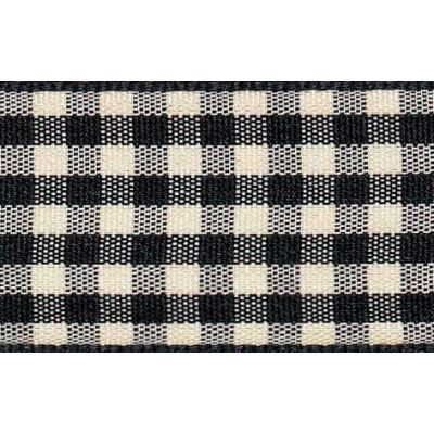 15mm Natural Gingham Black Ribbon 4m Reel