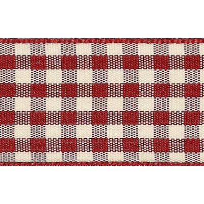 25mm Natural Gingham Red Ribbon 3m Reel
