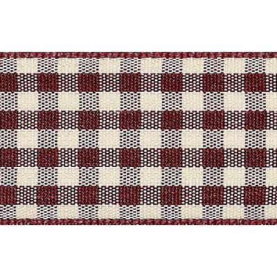25mm Natural Gingham Burgundy Ribbon 3m Reel