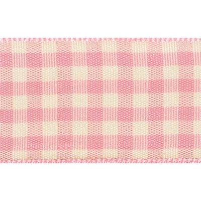 25mm Natural Gingham Pink Ribbon 3m Reel