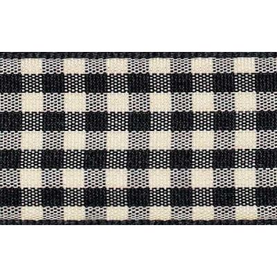 25mm Natural Gingham Black Ribbon 3m Reel