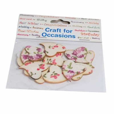 Floral Self Adhesive Love Hearts - 30mm - 12 Per Pack