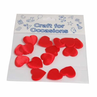 Red Padded Satin Love Hearts - 20mm - 15 Per Pack