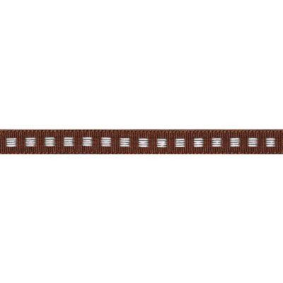 7mm Box Stitch Brown Ribbon 5m Reel
