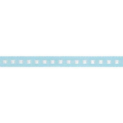 7mm Box Stitch Sky Ribbon 5m Reel