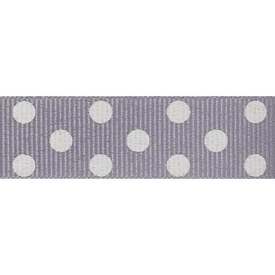 15mm Spotty Grosgrain Grey / Ivory Ribbon 4m Reel
