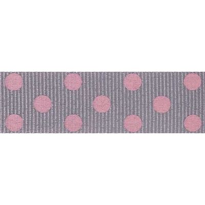 15mm Spotty Grosgrain Grey / Pink Ribbon 4m Reel