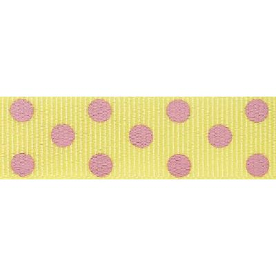 15mm Spotty Grosgrain Lemon / Pink Ribbon 4m Reel