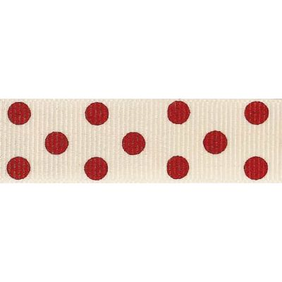 15mm Spotty Grosgrain Natural / Red Ribbon 4m Reel