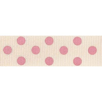 15mm Spotty Grosgrain Natural / Pink Ribbon 4m Reel