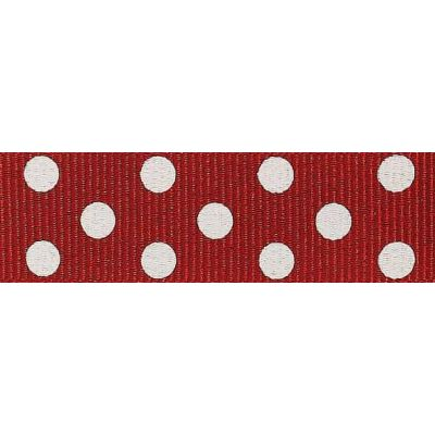 15mm Spotty Grosgrain Red / Ivory Ribbon 4m Reel