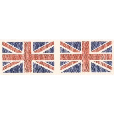 25mm Vintage Flags Blue Ribbon 3m Reel