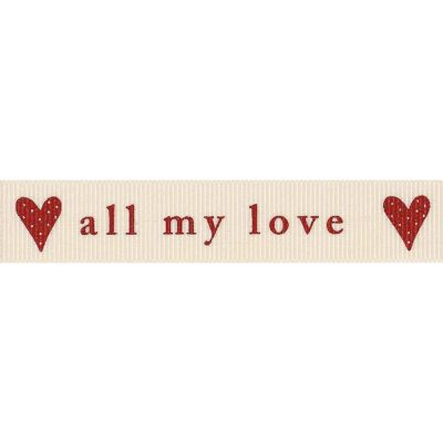 Berisfords 15mm All My Love Natural / Red Ribbon 4m Reel