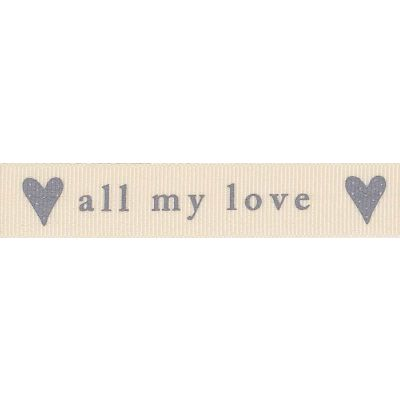 Berisfords 15mm All My Love Natural / Grey Ribbon 4m Reel