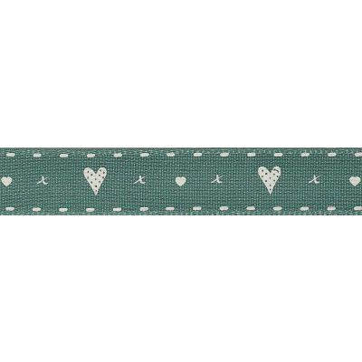 Berisfords 15mm Hearts And Kisses Sherwood Ribbon 4m Reel