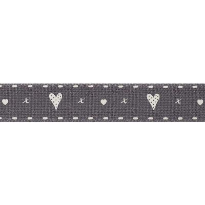 Berisfords 15mm Hearts And Kisses Smokes Grey Ribbon 4m Reel