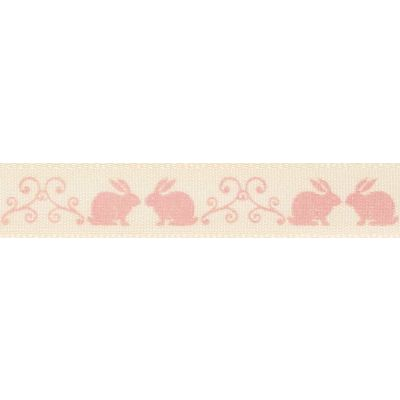 Berisfords 15mm Little Rabbits Pink Ribbon 4m Reel