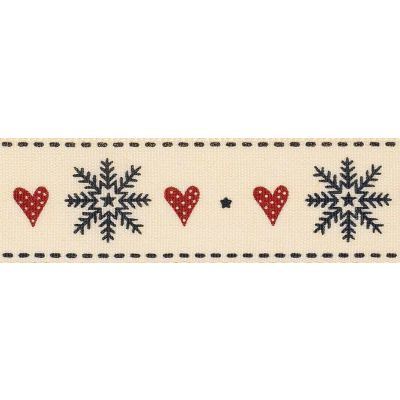 Remnant -Berisfords 25mm Snowflake Stitch Natural / Red / Black Ribbon -3m Reel - End of Line