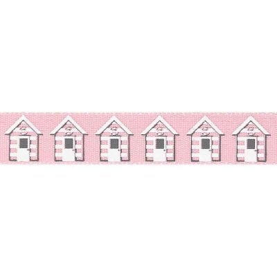 Pink Beach Huts Ribbon 4mtr x 15mm roll