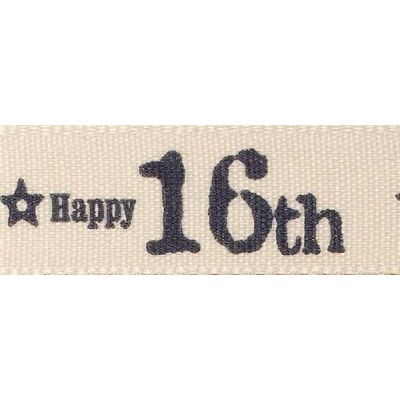 Berisfords 15mm Special Birthday 16th Ribbon 4m Reel