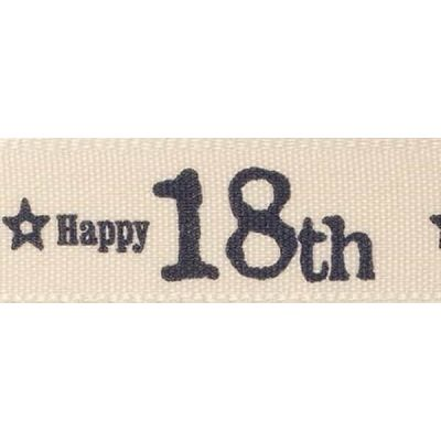 Remnant - Berisfords 15mm Special Birthday 18th Ribbon -  20m Reel - End of Line