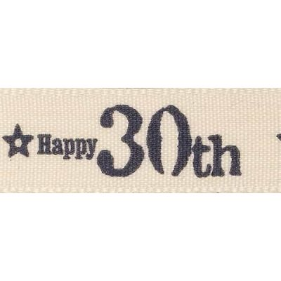 Remnant - Berisfords 15mm Special Birthday 30th Ribbon -3m LENGTH - End of Line