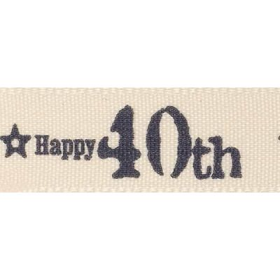Remnant -Berisfords 15mm Special Birthday 40th Ribbon - 175cm LENGTH