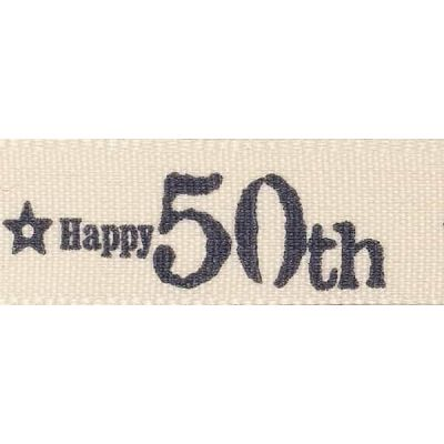 Berisfords 15mm Special Birthday 50th Ribbon 4m Reel
