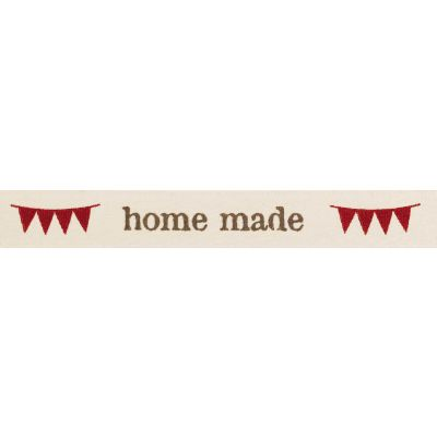 Berisfords 15mm Home Made With Bunting Natural / Red Ribbon 4m Reel