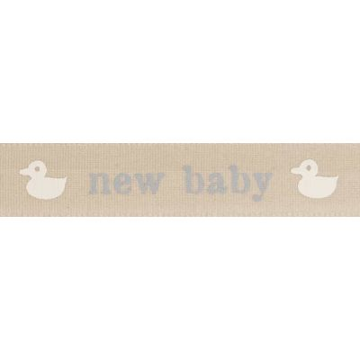 Remnant -Berisfords 15mm Blue New Baby With Ducks Ribbon 4m Reel - End of Line