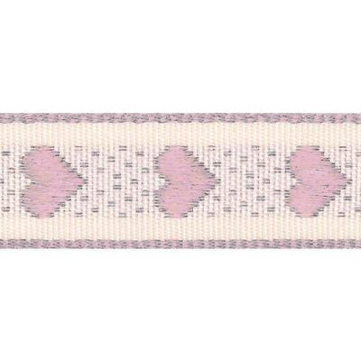 15mm Rustic Hearts Pale Pink Ribbon 4m Reel