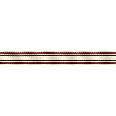 10mm Deckchair Stripe Burgundy Ribbon 4m Reel
