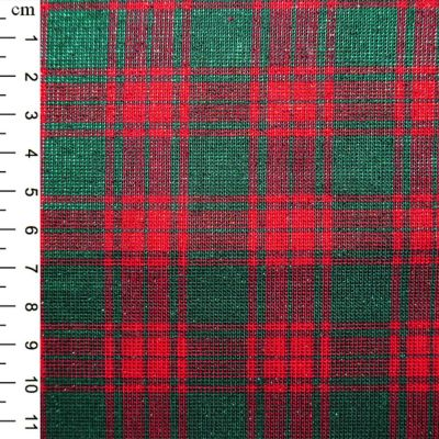 Christmas Cotton Red  With Green Blocks Tartan With Shimmer