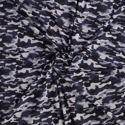 Stretch Cotton Spandex Jersey Knit - Grey Camouflage