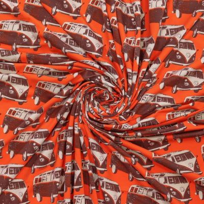 Stretch Cotton Spandex Jersey Knit - Retro VW Camper Vans On Red