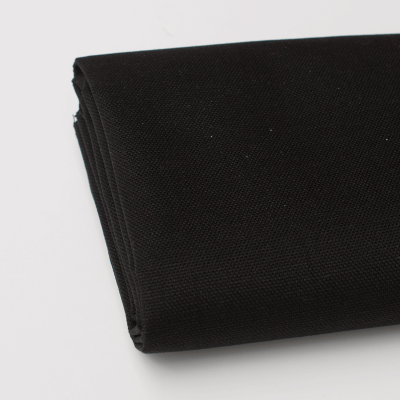 Black solid colour cotton canvas fabric