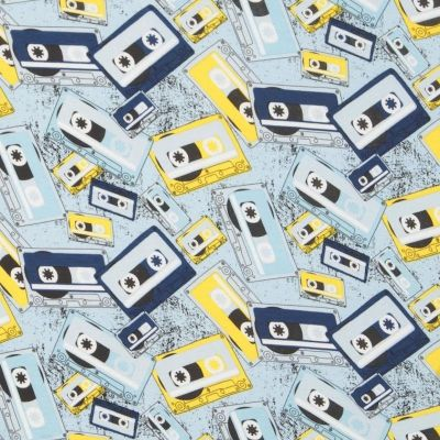Stretch Cotton Jersey Knit - Cassette Tapes On Blue