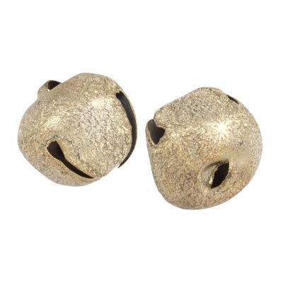 Frosted Gold Jingle Bells 30mm - 2 Pack