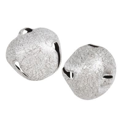 Frosted Silver Jingle Bells 30mm - 2 Pack