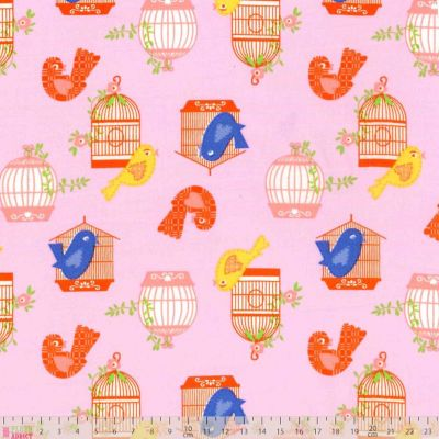 Craft Cotton - Poplin Birdcages On Pink