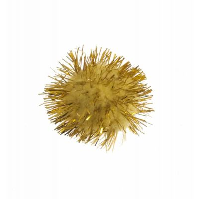 Glitter Pom Poms 13mm - Gold - 12 Per Pack