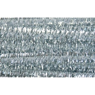 Glitter Chenilles / Pipe Cleaners - Silver 6mm x 300mm - 20 Per Pack